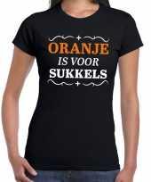 Koningsdag shirts zwart oranje is voor sukkels dames