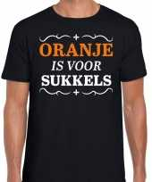 Koningsdag shirts zwart oranje is voor sukkels heren