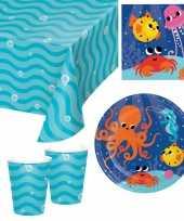 Oceaan thema kinderfeestje servies pakket 9 16 personen