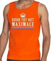 Oranje door tot het maximale tanktop mouwloos shirt voor heren