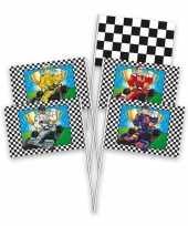 Race formule 1 kinderfeestje zwaaivlaggetjes 8 stuks