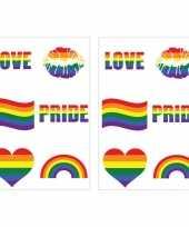 Regenboogvlag kleuren nep tattoeages 12 stuks
