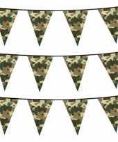 Set van 6x stuks camouflage vlaggenlijnen 6 meter army thema