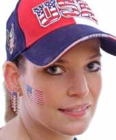 Set van 8x stuks landen vlag tattoo amerika 2 6 x 4 5 cm
