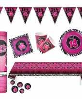 Sweet sixteen thema verjaardag feestartikelen pakket voor 16x personen 10282063