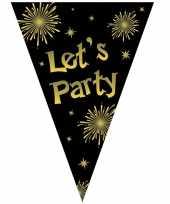 Vlaggenlijn let s party oud en nieuw jaar zwart goud 5 meter