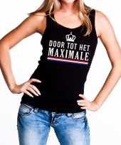 Zwart door tot het maximale tanktop mouwloos shirt voor dames