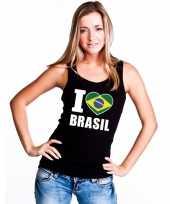 Zwart i love brazilie fan singlet-shirt tanktop dames