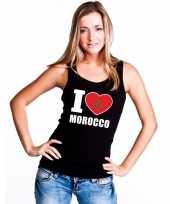 Zwart i love marokko fan singlet-shirt tanktop dames