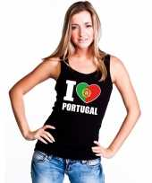 Zwart i love portugal fan singlet-shirt tanktop dames