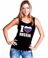 Zwart i love rusland fan singlet-shirt tanktop dames