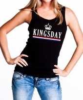 Zwart kingsday tanktop mouwloos shirt voor dames