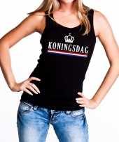 Zwart koningsdag kroon en vlag tanktop mouwloos shirt dames